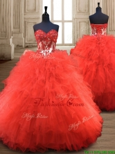 Popular Red Really Puffy Quinceanera Gown with Appliques and Ruffles SWQD123FOR