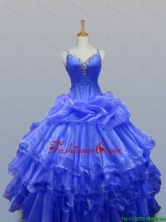 Pretty 2016 Summer Straps Quinceanera Gowns with Beading in Organza SWQD003-11FOR