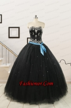 Pretty Appliques and Beading Black Quinceanera Dresses FNAO113FFOR