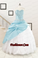 Pretty Beading Blue and White Quinceanera Dresses for 2015 FNAO5918FOR