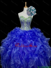 Pretty Sweetheart Blue Sweet 16 Dresses with Sequins and Ruffles for 2015 Fall SWQD006-5FOR
