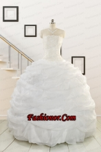 Pretty White Strapless 2015 Quinceanera Dresses with Beading FNAO186FOR