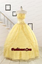 Pretty Yellow Quinceanera Dresses with Appliques and Beading For 2015 FNAO088FOR