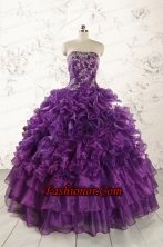 Purple Strapless 2015 Quinceanera Dress with Appliques FNAO244FOR
