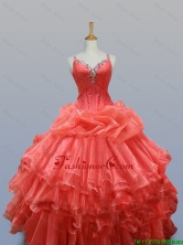 Ruffled Layers Straps Elegant Quinceanera Dresses with Beading for 2015 Fall SWQD003-6FOR