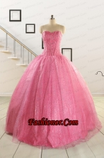 Simple Sweetheart Sequins Quinceanera Dress in Rose Pink For 2015 FNAO825FOR