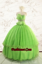Spring Green Quinceanera Dresses with Beading and Bowknot for 2015 Spring FNAO785FOR