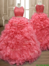 Two Piece Scoop Watermelon Red Quinceanera Dress with Beading and Ruffles SWQD160FOR