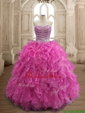 Unique Fuchsia Big Puffy Quinceanera Dress with Beading and Ruffles SWQD156-5FOR