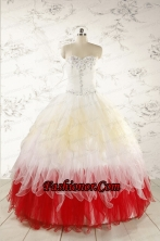 Unique Multi Color Sweetheart Ruffled Quinceanera Dresses wth Beading FNAOA11FOR