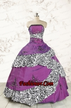Unique Purple Quinceanera Dresses with Embroidery and Zebra FNAO5794FOR