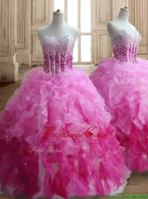 Visible Boning Beaded Bodice and Ruffled Quinceanera Dress in Gradient Color SWQD150FOR