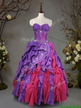 Visible Boning Beaded and Ruffled Quinceanera Dress in Taffeta SWQD098FOR