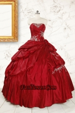 Wine Red Appliques Sweetheart 2015 Quinceanera Dress  FNAO215FOR