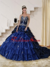 2015 Detachable Embroidery and Beaded Strapless Quinceanera Dress in Navy Blue QDZY319TZFXFOR