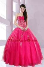 2015 Fshionable Strapless Hot Pink Quince Dresses with Appliques XFNAO209TZFXFOR