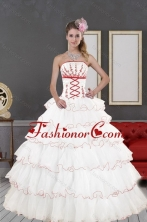 2015 Impressive White Quinceanera Dresses with Appliques and Ruffled Layers XFNAO415TZFXFOR