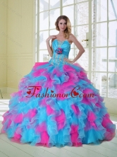 2015 New Style Multi Color Quinceanera Dress with Appliques and Ruffles QDZY464TZFXFOR