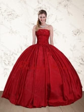 2015 Perfect Strapless Beaded Floor Length Quinceanera Dress in Red  QDZY597TZFXFOR