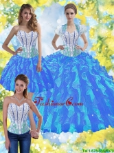 2015 Summer Elegant Ball Gown Quinceanera Dresses with Beading and Ruffles SJQDDT38001-1FOR