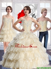 2015 Summer Top Seller Sweetheart Quinceanera Dresses with Beading and Ruffled Layers SJQDDT57001FOR