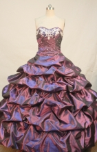 Affordable Ball gown Sweetheart Floor-length Taffeta Purple Quinceanera Dresses Appliques Style FA-Y-0033