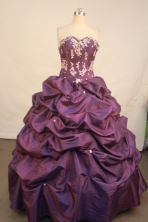 Affordable ball gown sweetheart-neck floor-length quinceanera dresses Style X042489