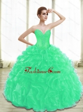 Beautiful Appliques 15 Quinceanera Dresses in Turquoise for 2015 SJQDDT28002-2FOR