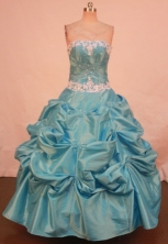 Beautiful Ball Gown Strapless Floor-length Quinceanera Dresses Appliques Style FA-Z-0196