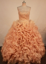 Beautiful Ball Gown Strapless Floor-length Quinceanera Dresses  Beading Style FA-Z-0238