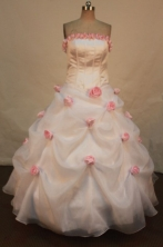Beautiful Ball Gown Strapless Floor-length Quinceanera Dresses Hand Flowers Style FA-Z-0178