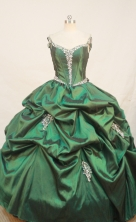 Beautiful Ball gown Off The Shoulder Neck Floor-length  Taffeta Green Quinceanera Dresses Appliques Style FA-Y-0035