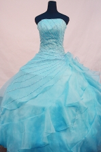 Beautiful Ball gown Strapless Floor-length Organza Blue Quinceanera Dresses  Beading Style FA-Y-0095