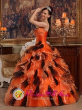 Beautiful Orange taffeta and multi-color organza Strapless Quinceanera Dress For 2013 Moreno  Argentina Fall  Style QDZY460FOR