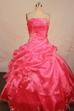 Beautiful ball gown strapless floor-length organza appliques watermelon quinceanera dresses FA-X-077