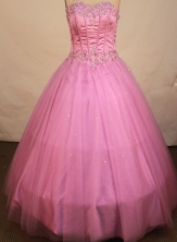 Beautiful ball gown sweetheart-neck floor-length appliques pink quinceanera dresses FA-X-069