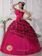 Bowknot Beaded Decorate Zebra and Taffeta Hot Pink Ball Gown For Formal Evening In Choluteca Honduras Style QDZY705FOR