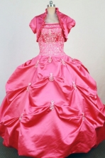 Brand New Ball Gown Strapless Floor-Length  Hot Pink Beading and Applqiues Quinceanera Dresses Style FA-S-315