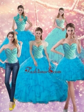 Classical Baby Blue Beading and Ruffles Sweetheart 15 Quinceanera Dresses for 2015 SJQDDT14001FOR