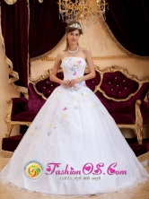 Customer Made White Appliques For Quinceanera Dress With Organza Strapless In Juticalpa Honduras  Style QDZY275FOR