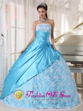 Customize Aqua Blue Lace and Hand flower Decorate Quinceanera Dress For 2013 La Lima Honduras Taffeta Ball Gown Wholesale Style PDZY677FOR