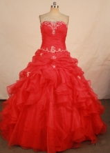 Cute Ball Gown Strapless Floor-length Quinceanera Dresses Appliques Style FA-Z-0308