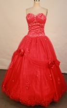 Cute ball gown sweetheart-neck floor-length net red beading quinceanera dresses FA-X-095