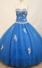 Discount Ball gown Sweetheart Neck Floor-Length Tulle Blue Quinceanera Dresses Style FA-Y-119