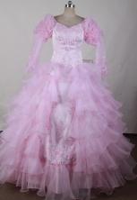 Elegant Ball Gown Scoop Neck Floor-length Pink Quinceanera Dress LJ2605