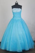 Elegant Ball Gown Strapless Floor-length Baby Blue Quinceanera Dress LZ426027