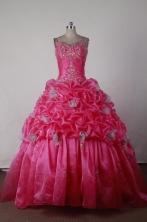 Elegant Ball Gown Straps Floor-length Hot Pink Quincenera Dresses TD260018