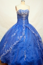 Elegant Ball gown Strapless Floor-length Organza Royal Blue Quinceanera Dresses Embroidery Style FA-Y-0021