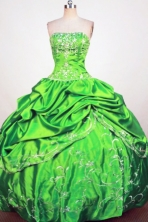 Exclusive Ball Gown Strapless Floor-Lengtrh Spring Green Beading and Embroidery Quinceanera Dresses Style FA-S-197