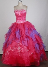 Exclusive Ball Gown Strapless Floor-length Red Quinceanera Dress LZ426014